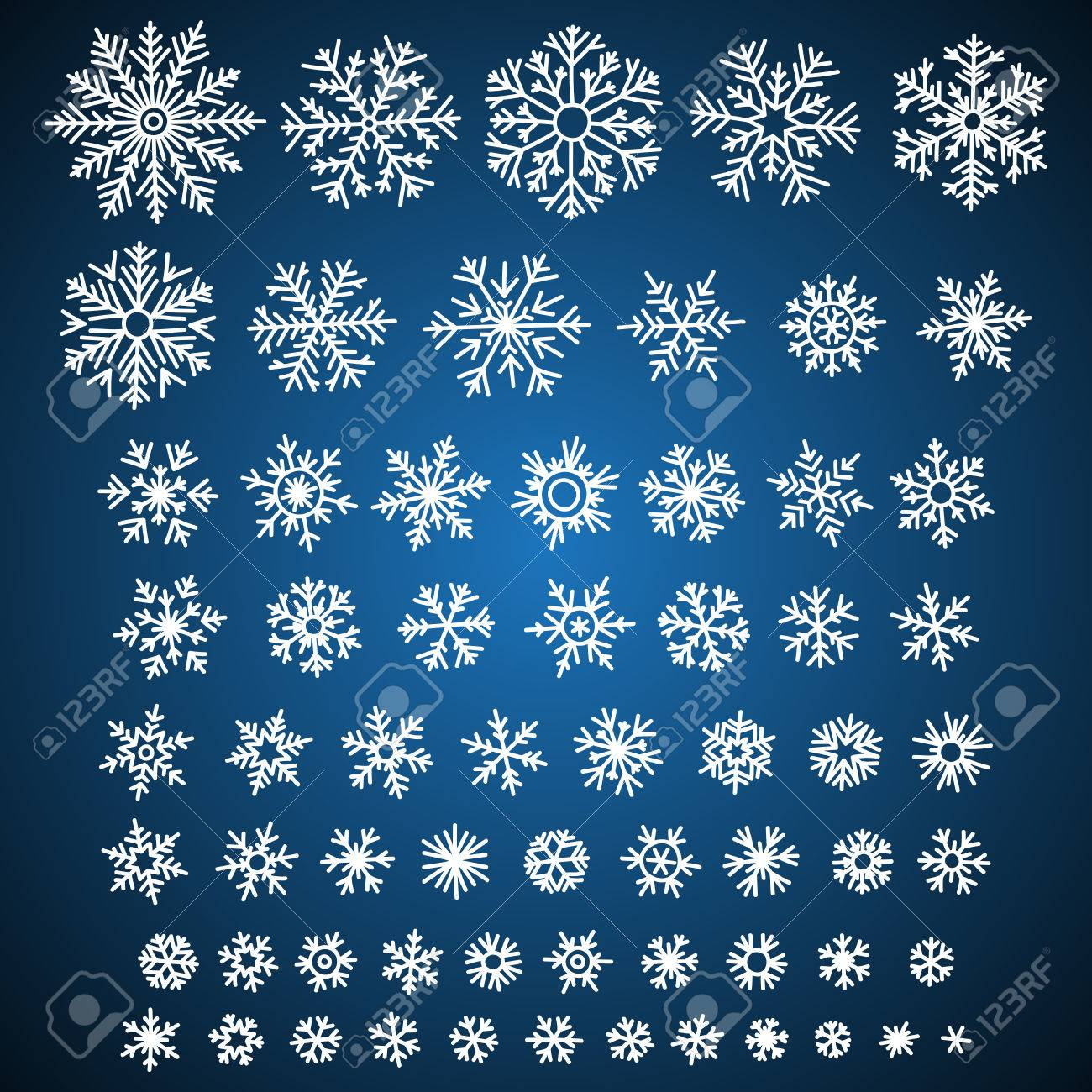 Set of different vector hand-drawn snowflakes - 47728460