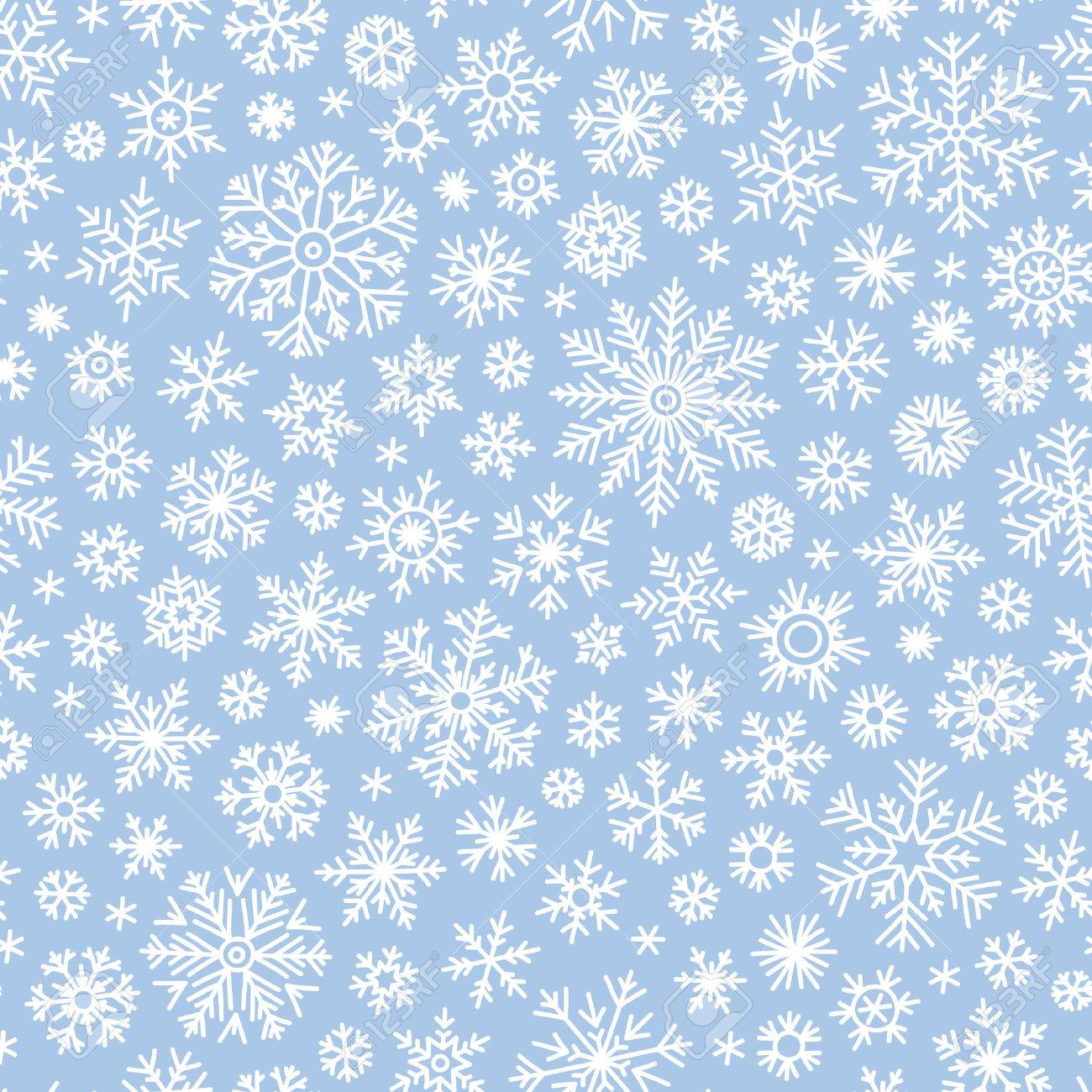 Christmas seamless doodle pattern with snowflakes, vector background - 47728296