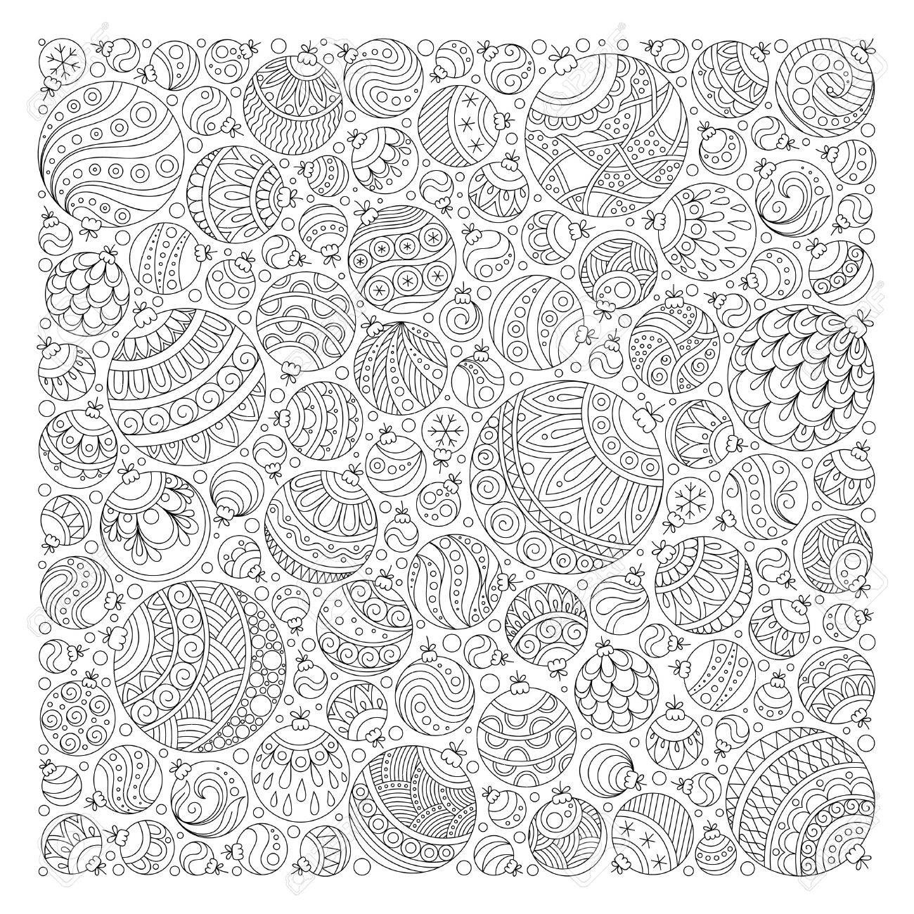 Pattern for coloring book. Christmas hand-drawn decorative elements in vector. Fancy Christmas balls, stars. Pattern for coloring book. Black and white pattern. - 47952737