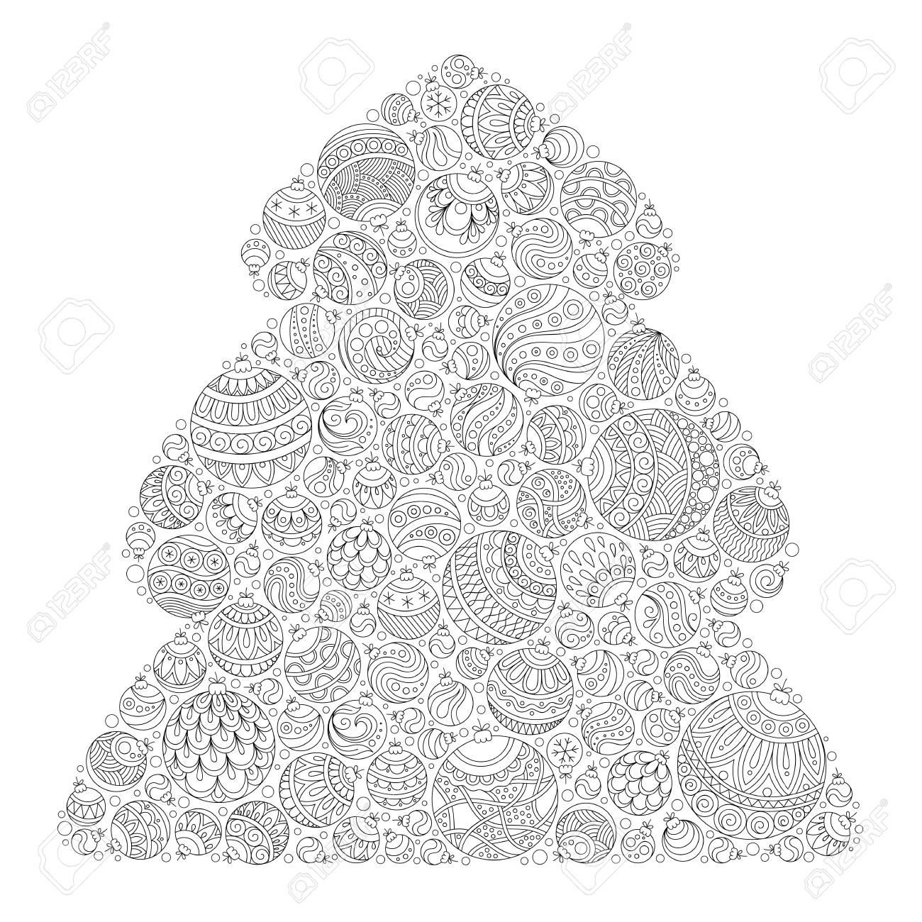 Rbol De Navidad. Patrón De Libro Para Colorear. Navidad Dibujados A ...