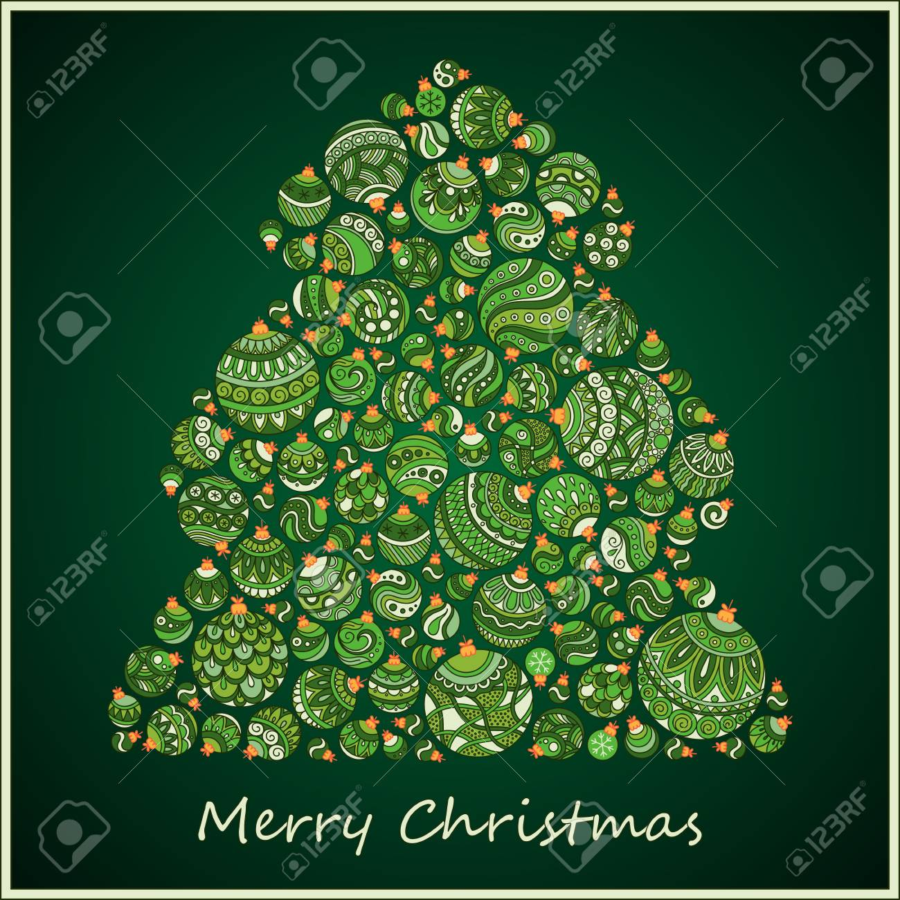 Stylized Design Green Christmas Tree Of Balls Card Stock Vector