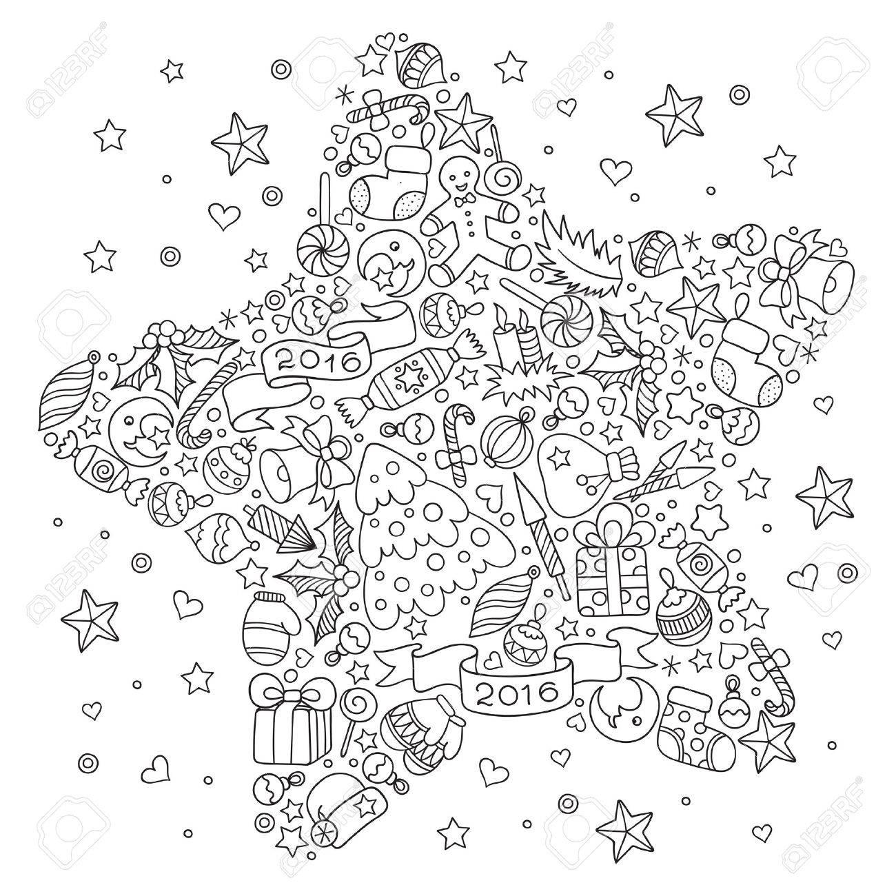 étonnant  Mot-Clé Motif pour livre de coloriage. tiré par la main Noël éléments décoratifs en  vecteur. étoile de Noël à partir d'éléments de décoration de Noël.