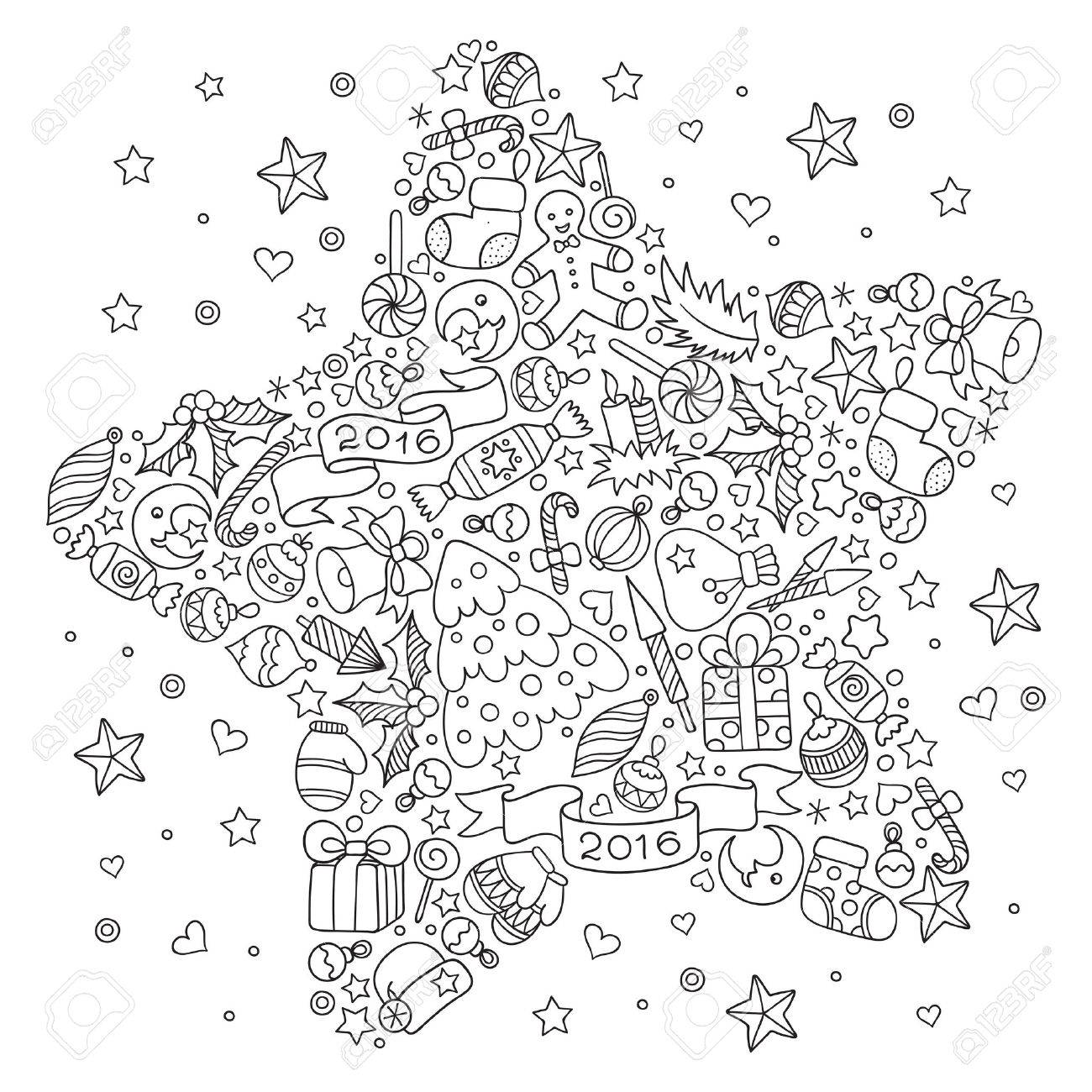 - Pattern For Coloring Book. Christmas Hand-drawn Decorative