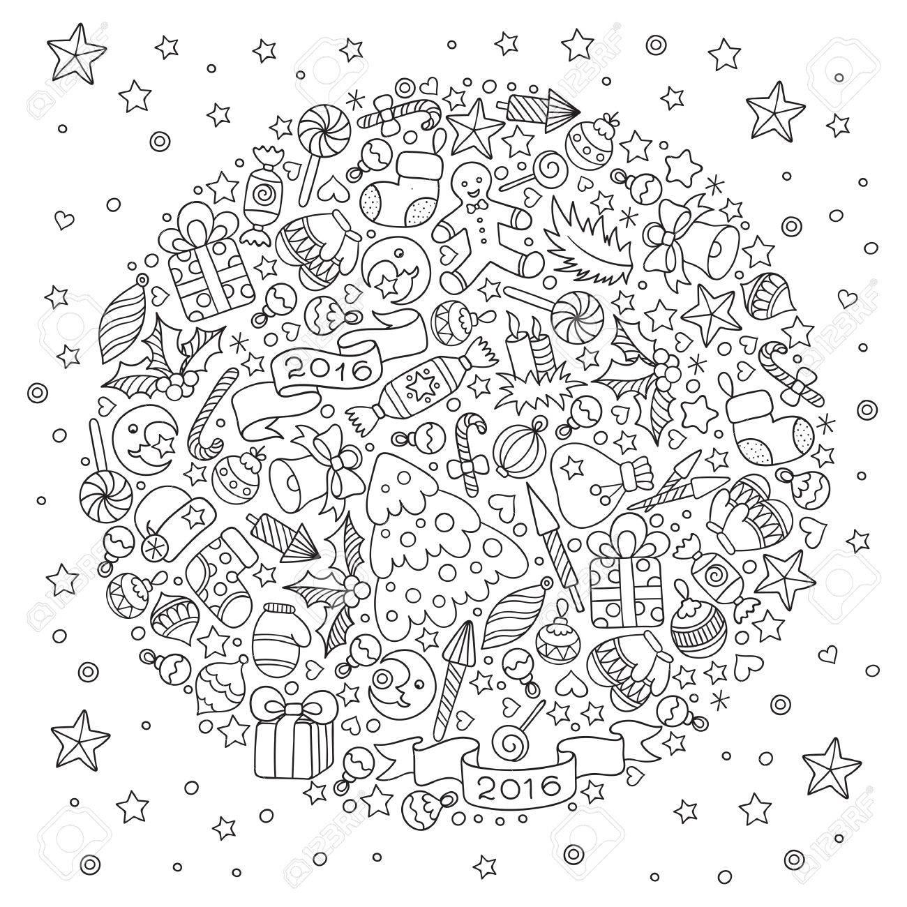 Motif pour livre de coloriage. tiré par la main Noël éléments décoratifs en  vecteur. Boule de Noël à partir d'éléments de décoration de Noël.