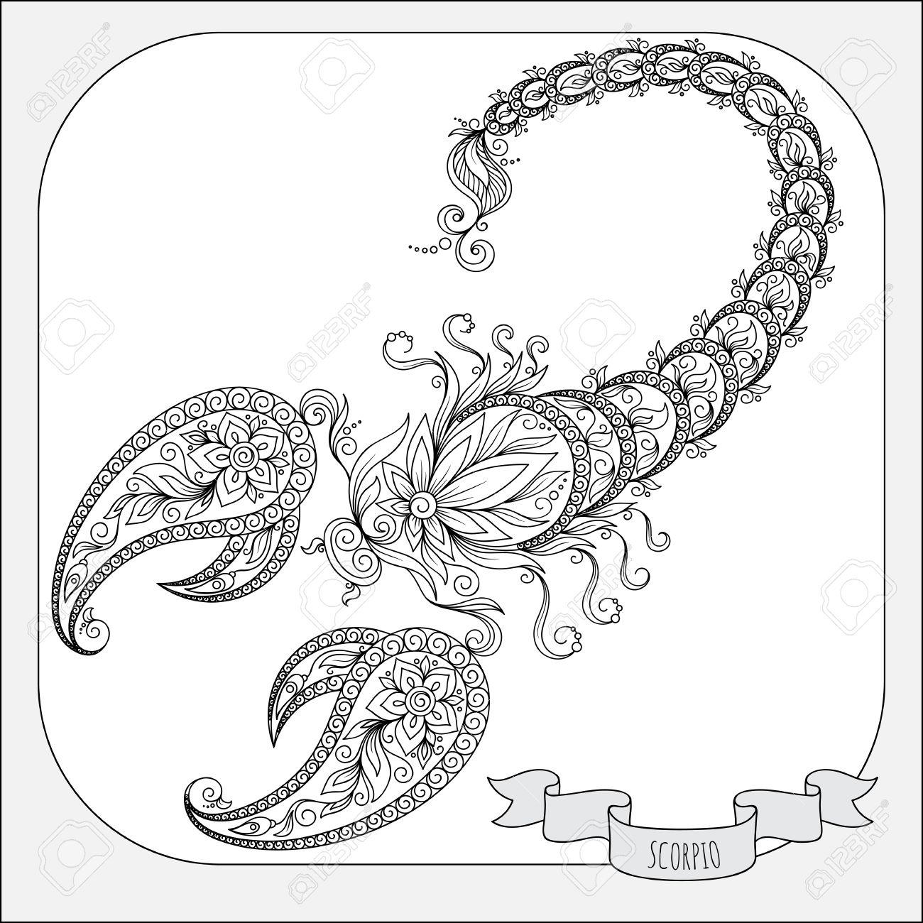23a2862bd0d7 Patrón de libro para colorear. Dé las flores línea de arte de la del  zodiaco del escorpión. símbolo del horóscopo para su uso. Para el arte del  ...