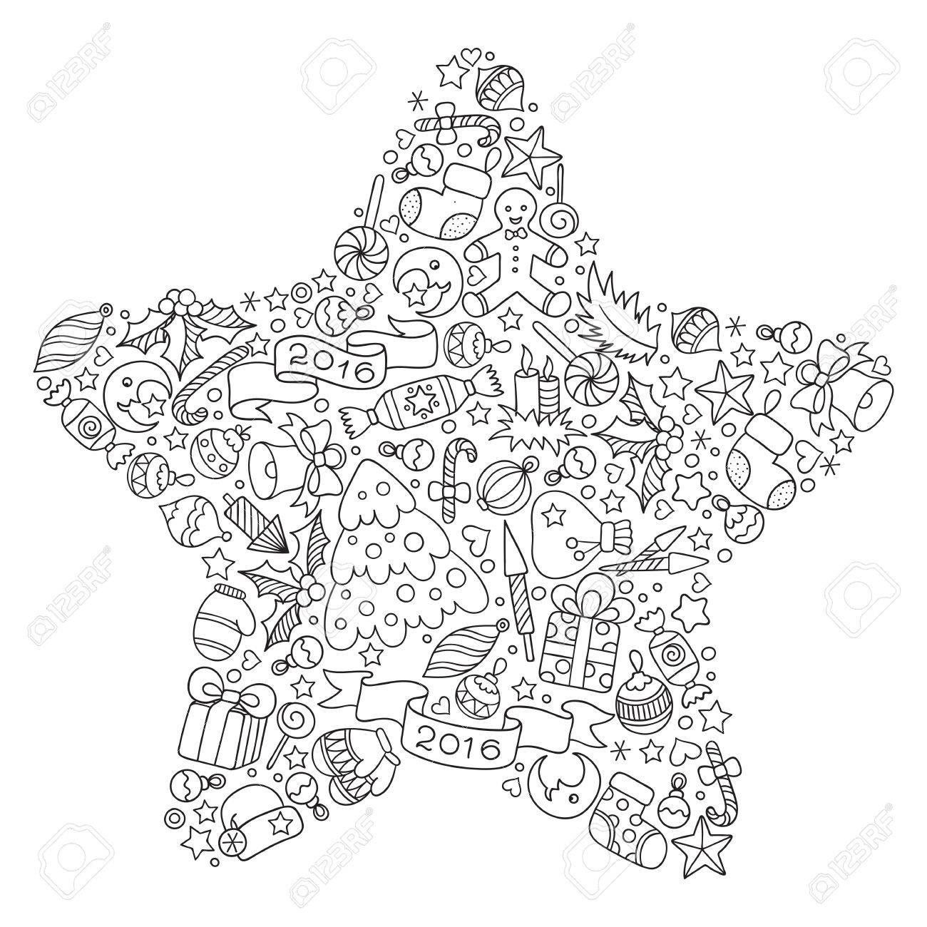 Motif pour livre de coloriage. tiré par la main Noël éléments décoratifs en  vecteur. étoile de Noël à partir d'éléments de décoration de Noël.