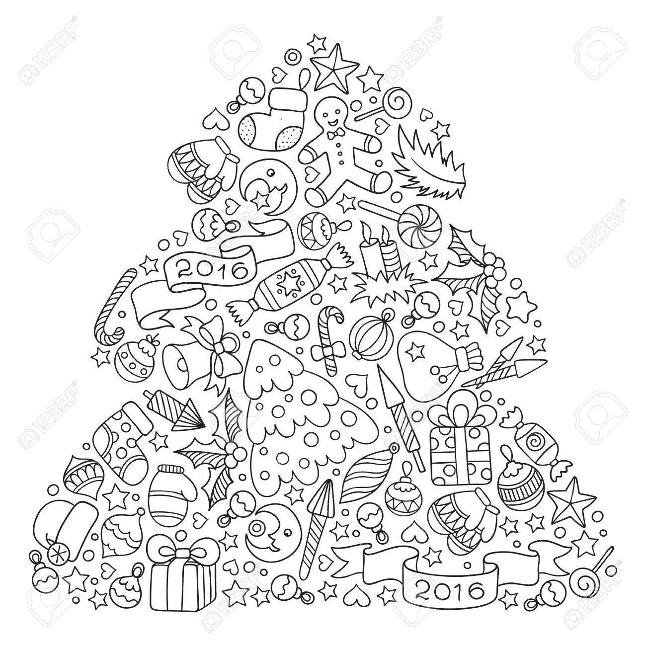Motif pour livre de coloriage. tiré par la main Noël éléments décoratifs en  vecteur. Arbre de Noël à partir d'éléments de décoration de Noël. motif ...