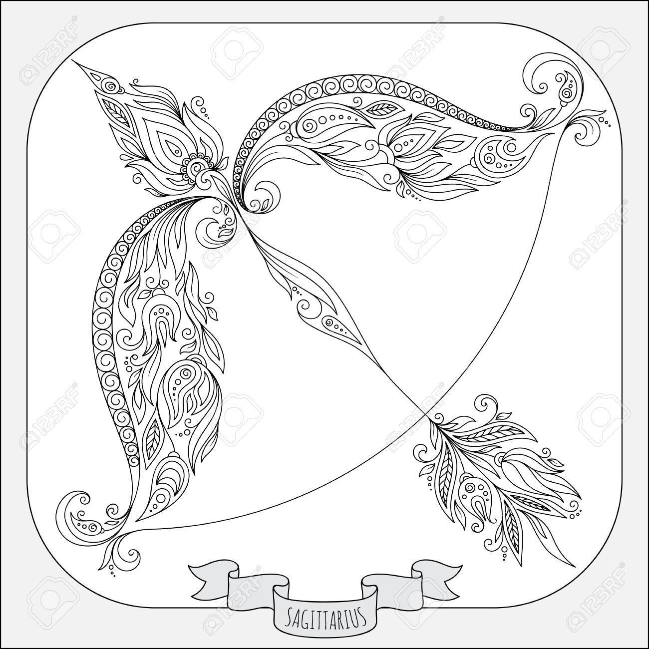 Patrón De Libro Para Colorear. Dé Las Flores Línea Arte De Zodiaco ...