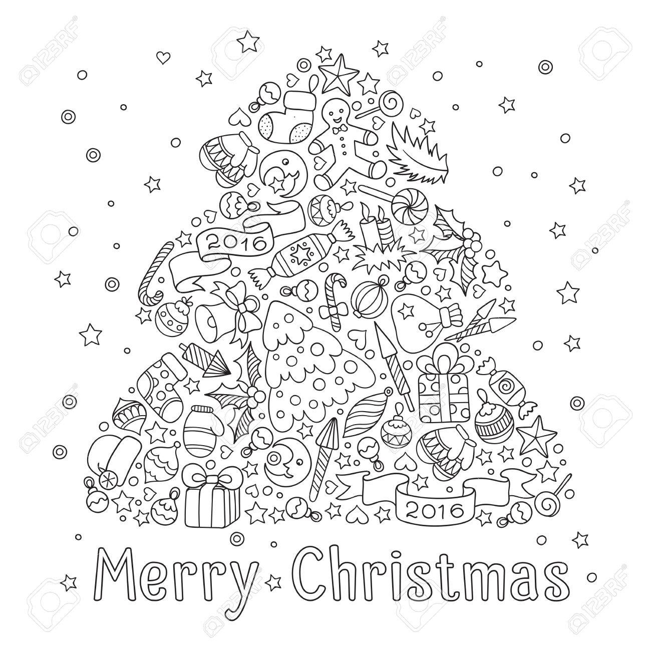 Pattern For Coloring Book. Christmas Hand-drawn Decorative Elements ...