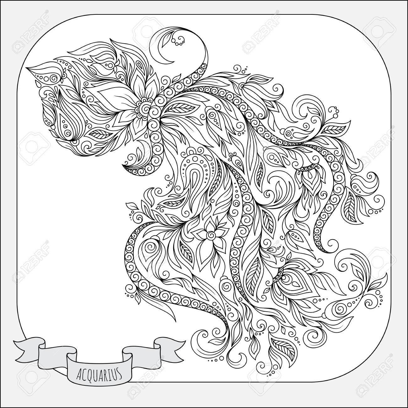 Modelo Para El Libro Para Colorear. Dibujado A Mano Las Flores De La ...