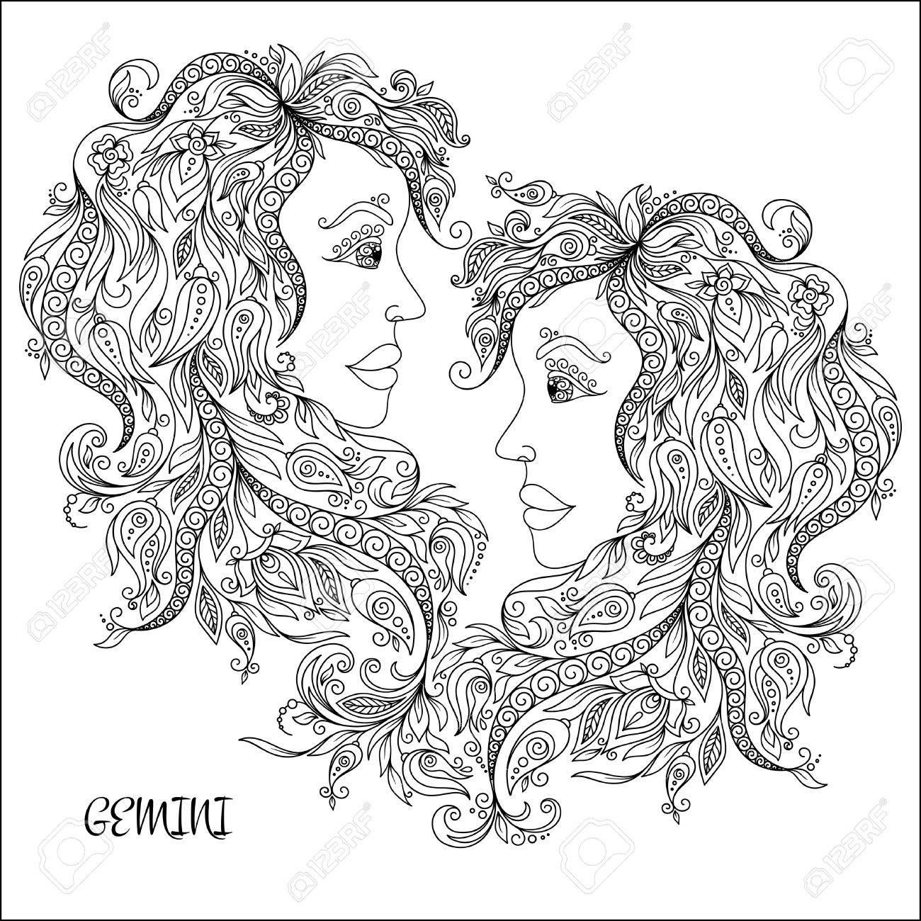 Pattern For Coloring Book Hand Drawn Line Flowers Art Of Zodiac Gemini Horoscope Symbol