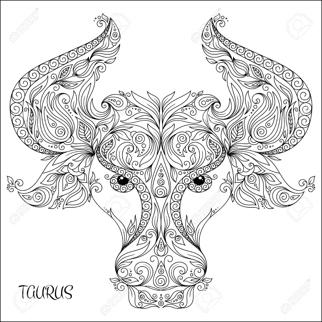Pattern for coloring book. Hand drawn line flowers art of zodiac Taurus. Horoscope symbol for your use. For tattoo art, coloring books set. - 49172360