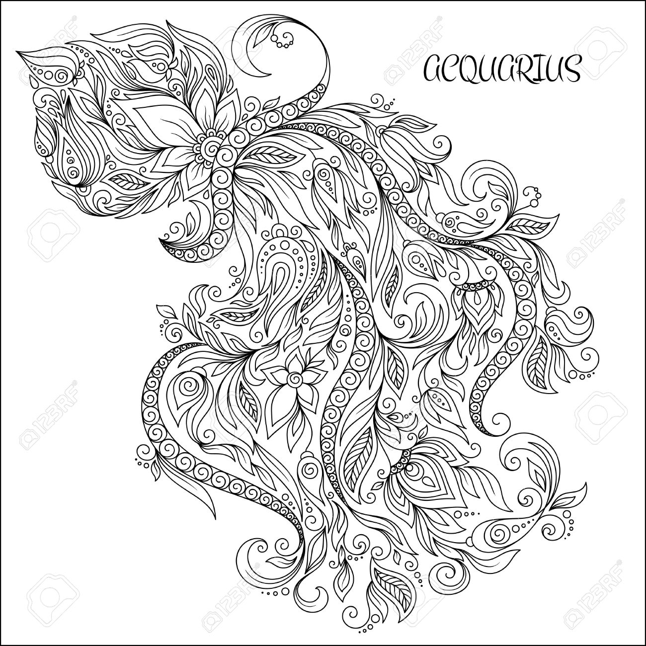 Pattern for coloring book. Hand drawn line flowers art of zodiac Aquarius. Horoscope symbol for your use. For tattoo art, coloring books set. - 49172493