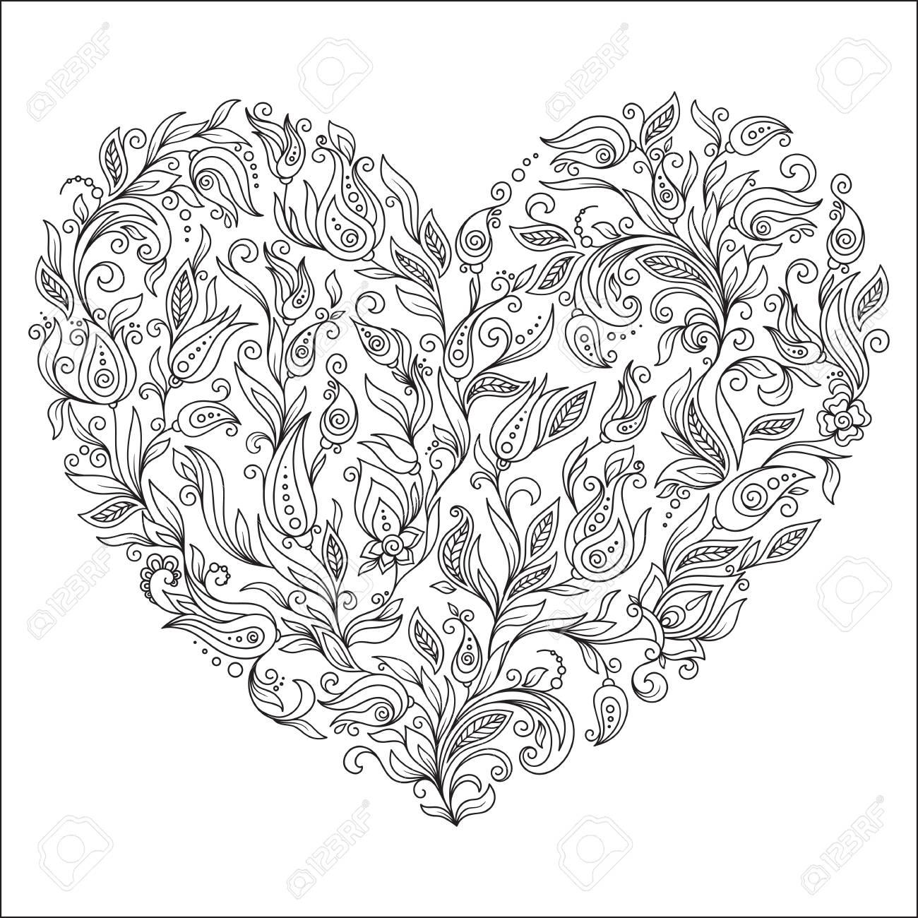 Coloring Page Flower Heart St Valentines Day Greeting Card Hand Made Print Digital Art