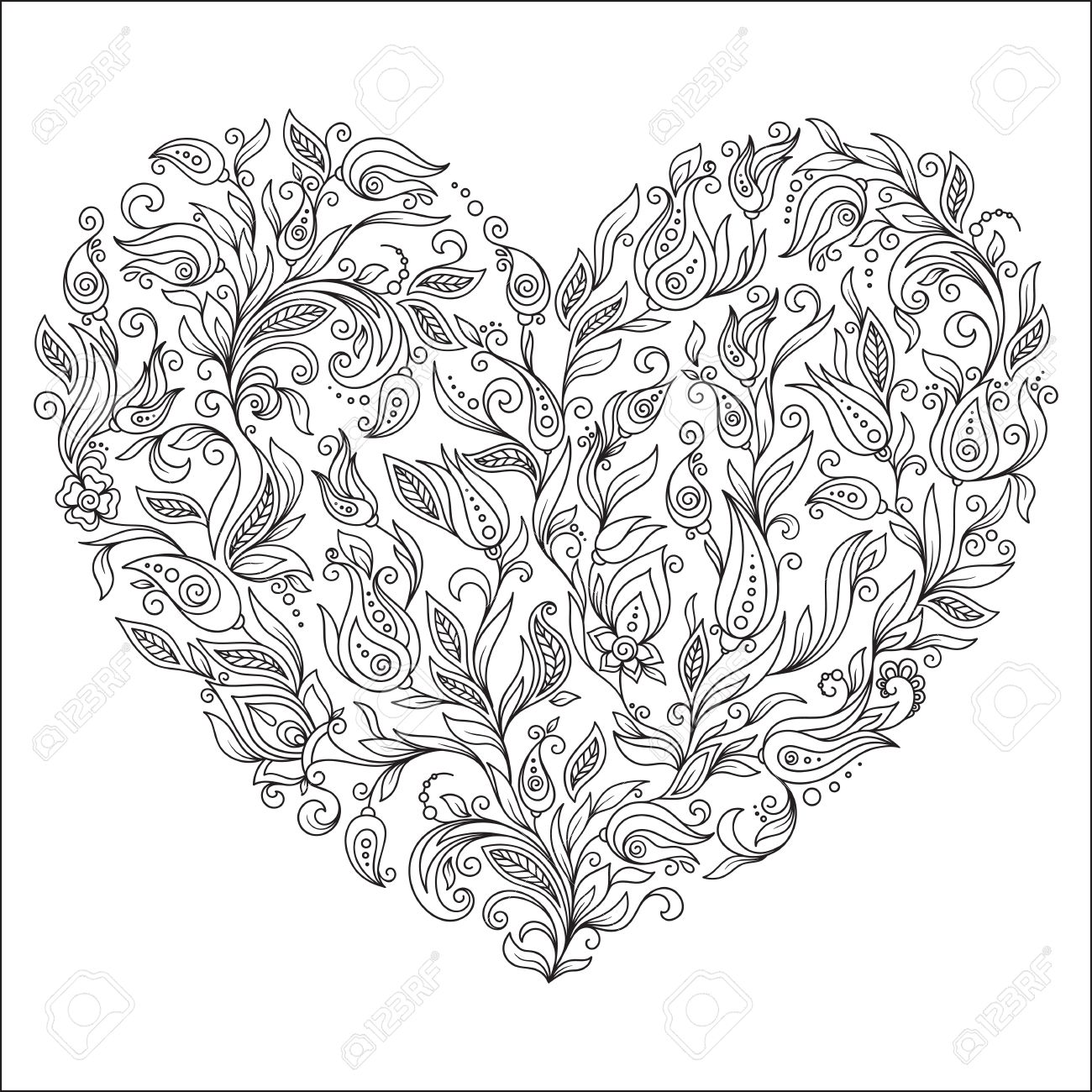 Heart flower coloring pages - Coloring Page Flower Heart St Valentine S Day Greeting Card Hand Made Print Digital Art Coloring