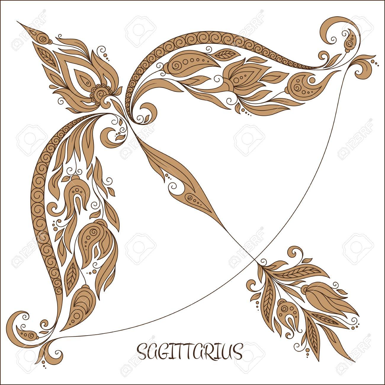 Pattern For Coloring Book Hand Drawn Line Flowers Art Of Zodiac Sagittarius Horoscope Symbol