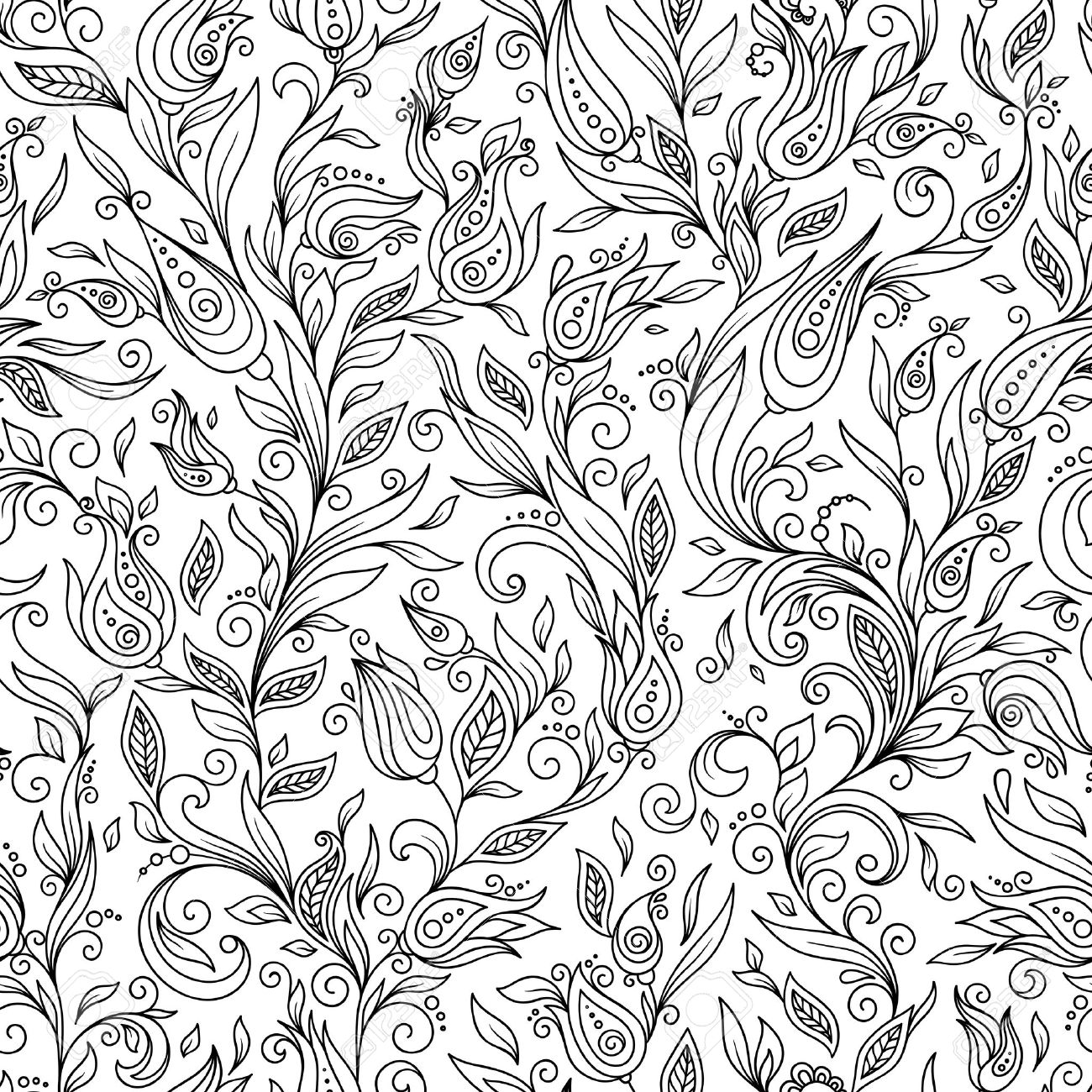 Pattern For Coloring Book Ethnic Floral Retro Doodle Vector Tribal