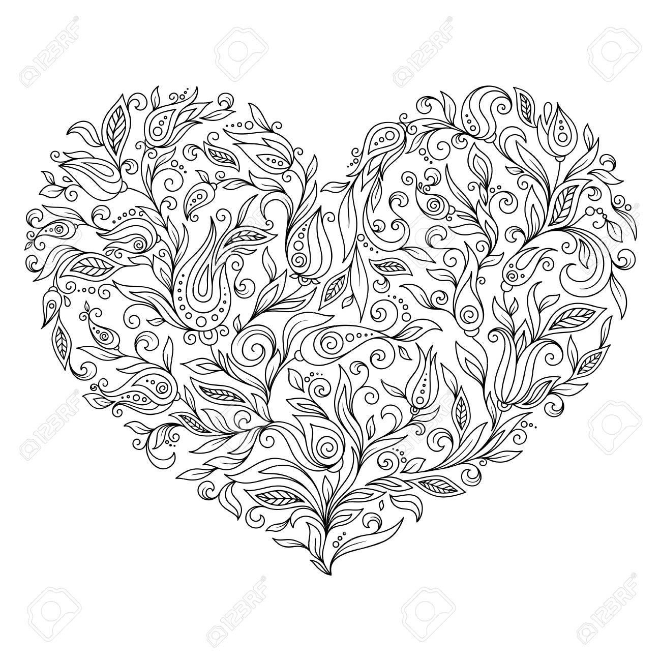 Colorear Página Corazón Flor Del Día De San Valentín Dibujo Para