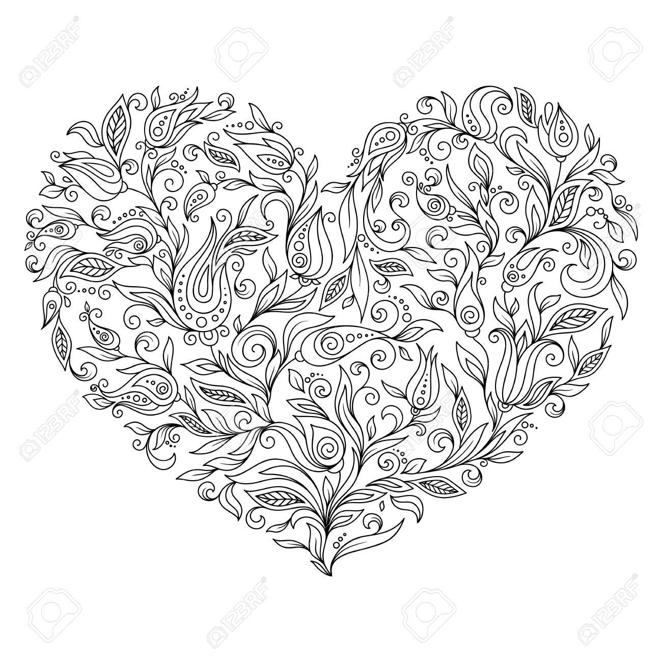 Zentangle Hearts Coloring Page • FREE Printable PDF from PrimaryGames | 1300x1300