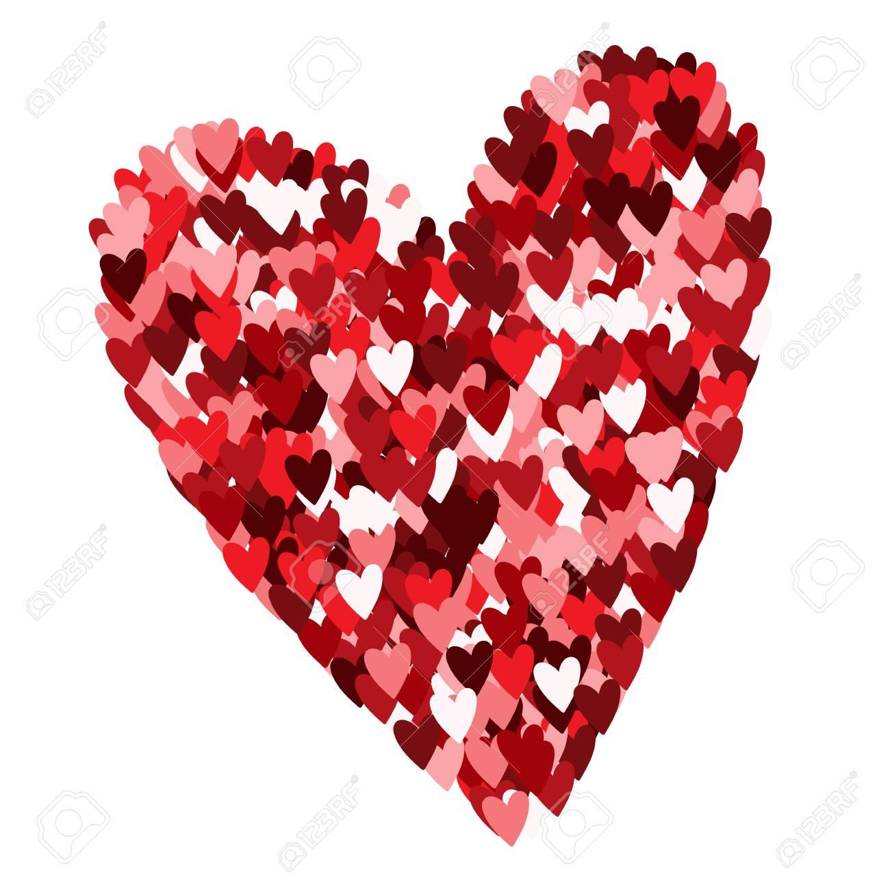 Corazón Hecho De Pequeños Corazones Aislado En El Fondo Blanco