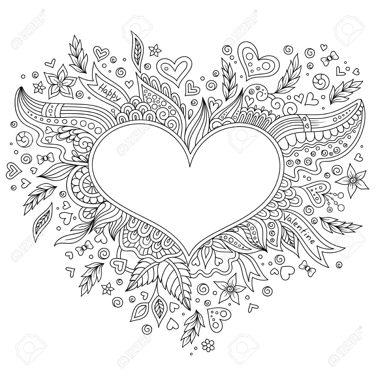 Coloring Page Flower Heart St Valentines Day With Details Isolated On White Background