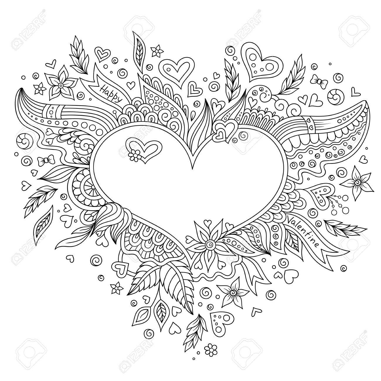 coloring page flower heart st valentines day coloring page with details isolated on white background