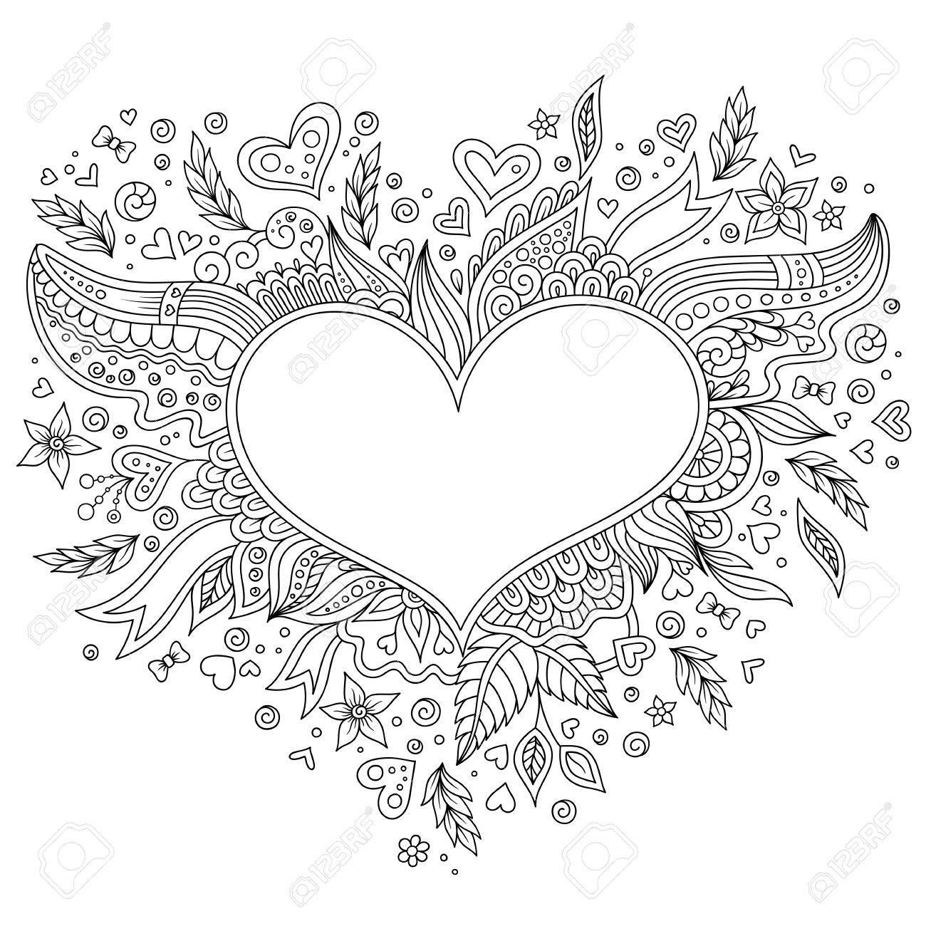 Malvorlage Blume Herz Valentinstag. Malvorlage Mit Details Auf ...