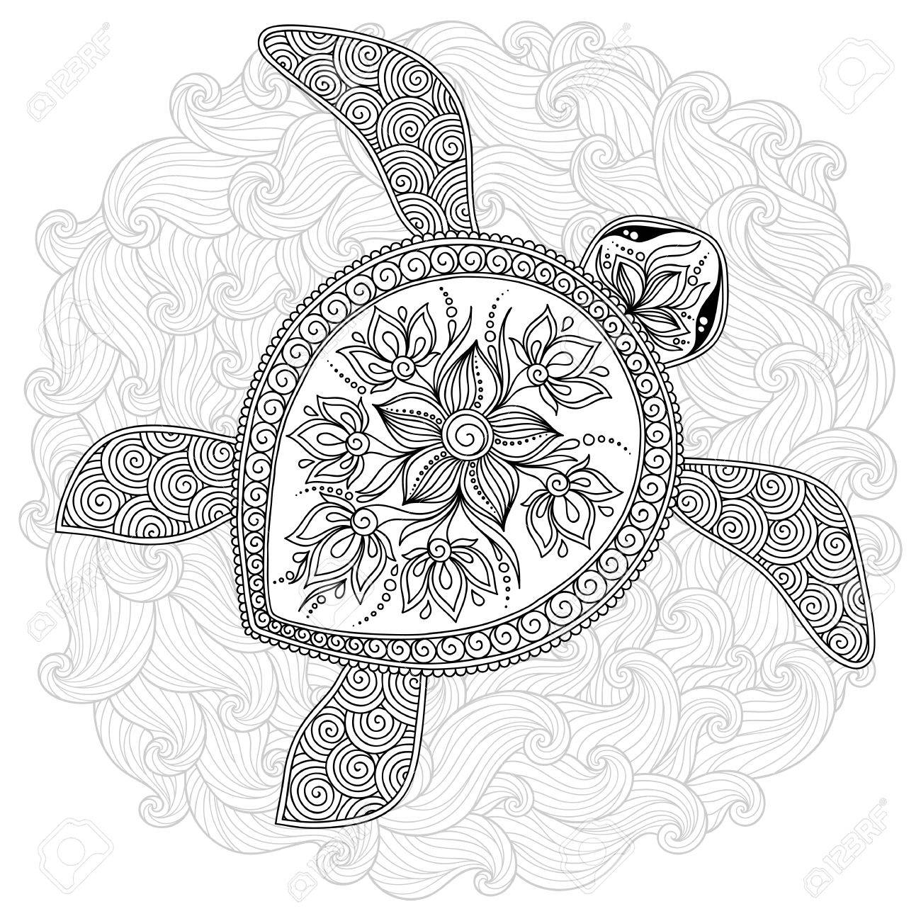 Pattern for coloring book. Coloring book pages for kids and adults. Decorative graphic turtle. Henna Mehndi Tattoo Style Doodles - 51954906