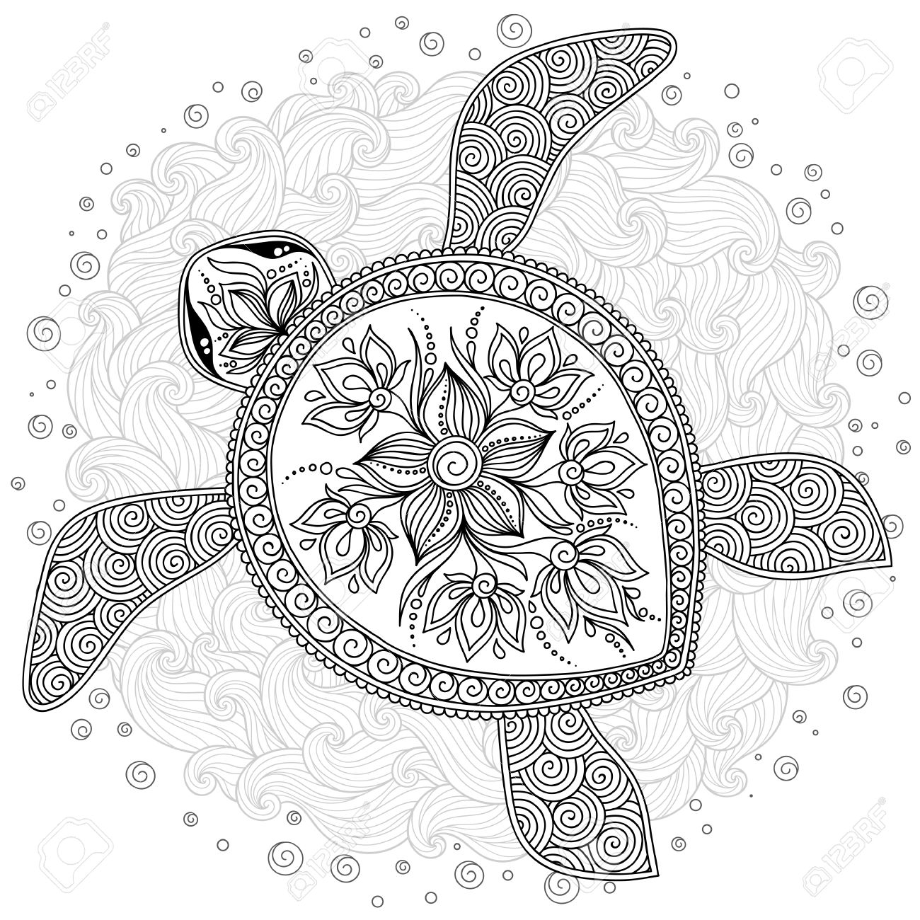 pattern for coloring book coloring book pages for kids and adults decorative graphic turtle henna me