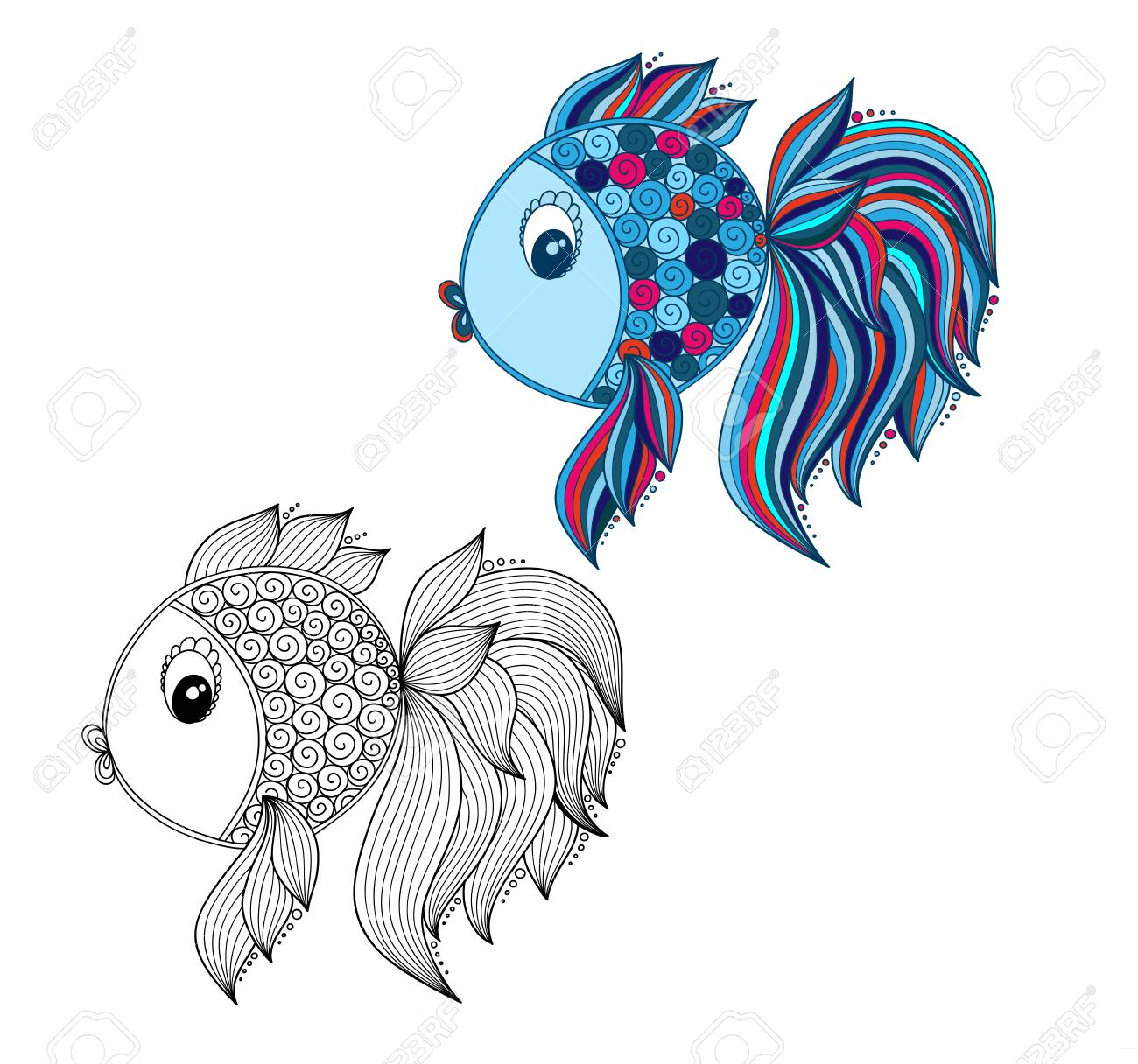Color Coloring Book For Young Children - Colorful Doodle Fish Stock ...