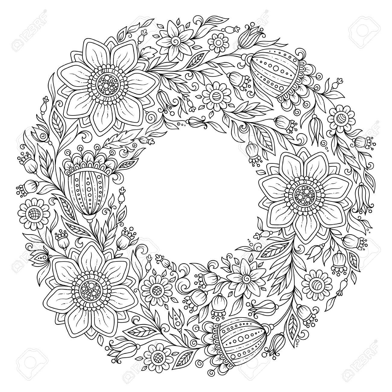 Flowers Wreath Coloring Book Page For Adult Stock Photo