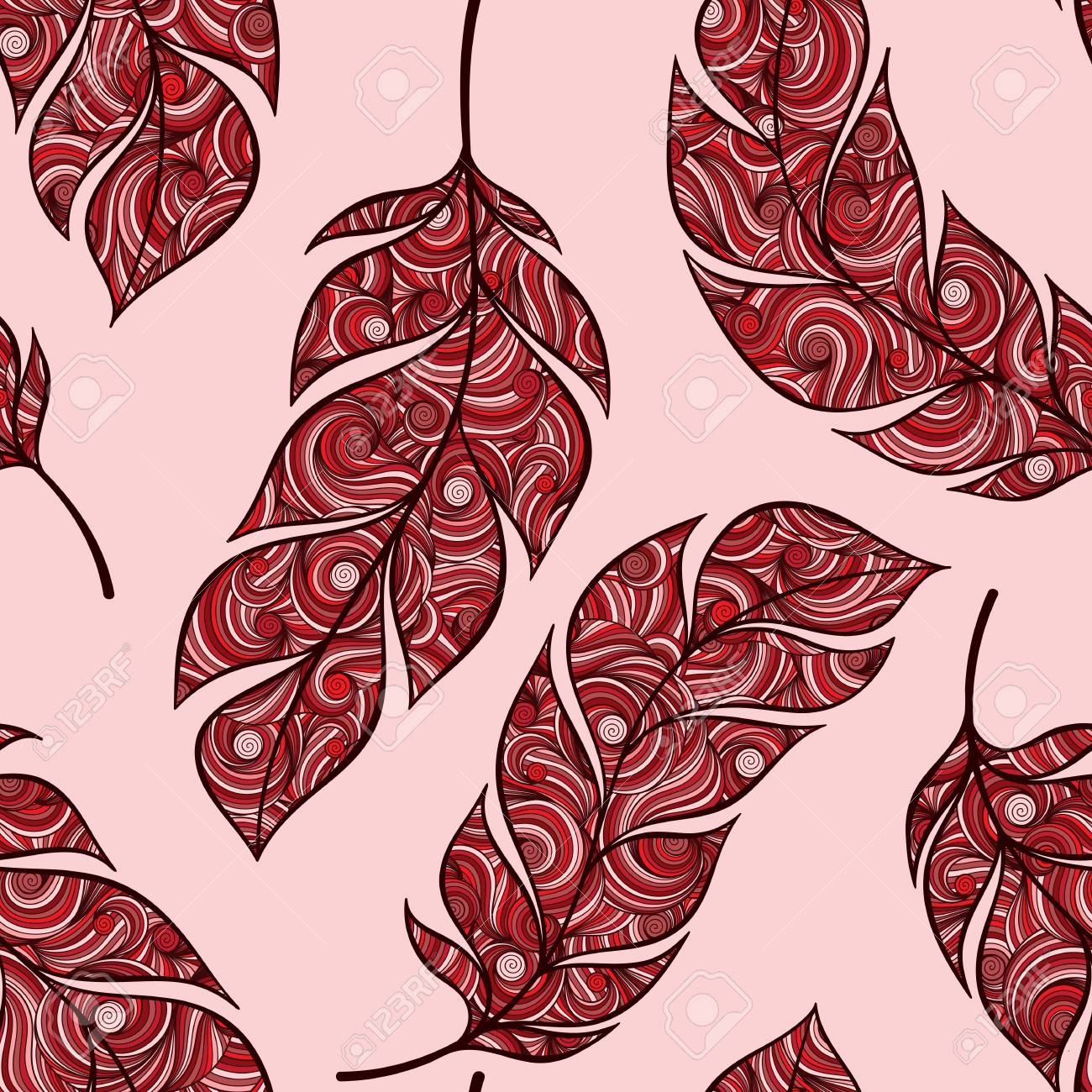 Vintage Seamless Pattern With Hand Drawn Feathers For Desktop