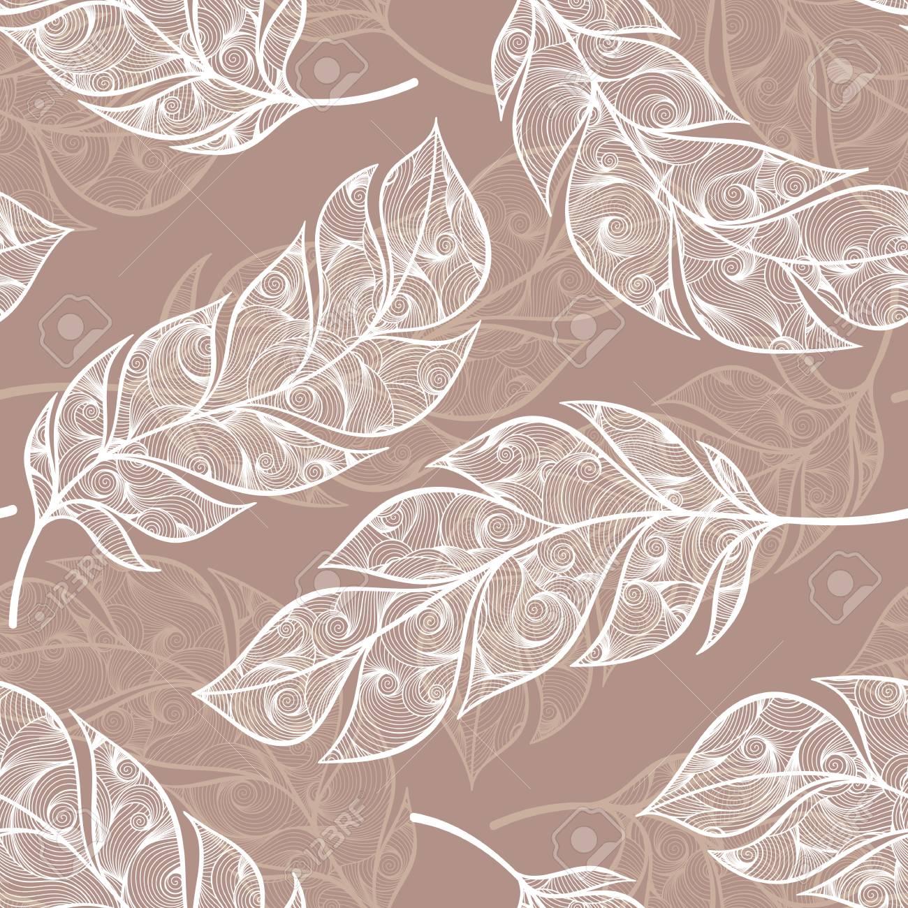 Jahrgang Nahtlose Muster Mit Handgezeichneten Federn. Für Desktop ...