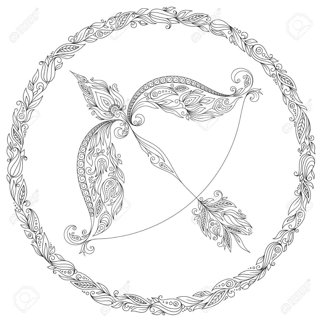Patron De Libro Para Colorear De Las Flores Linea Arte De Zodiaco