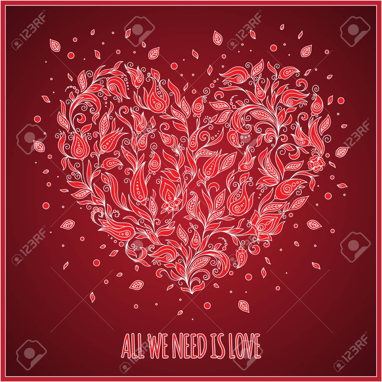 Beautiful Greeting Happy Valentines Day Card Of Floral Heart