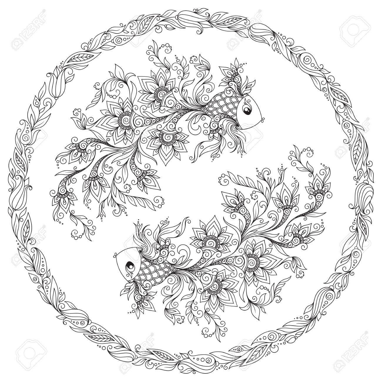 Hand Drawn Line Flowers Art Of Zodiac Pisces Horoscope Symbol