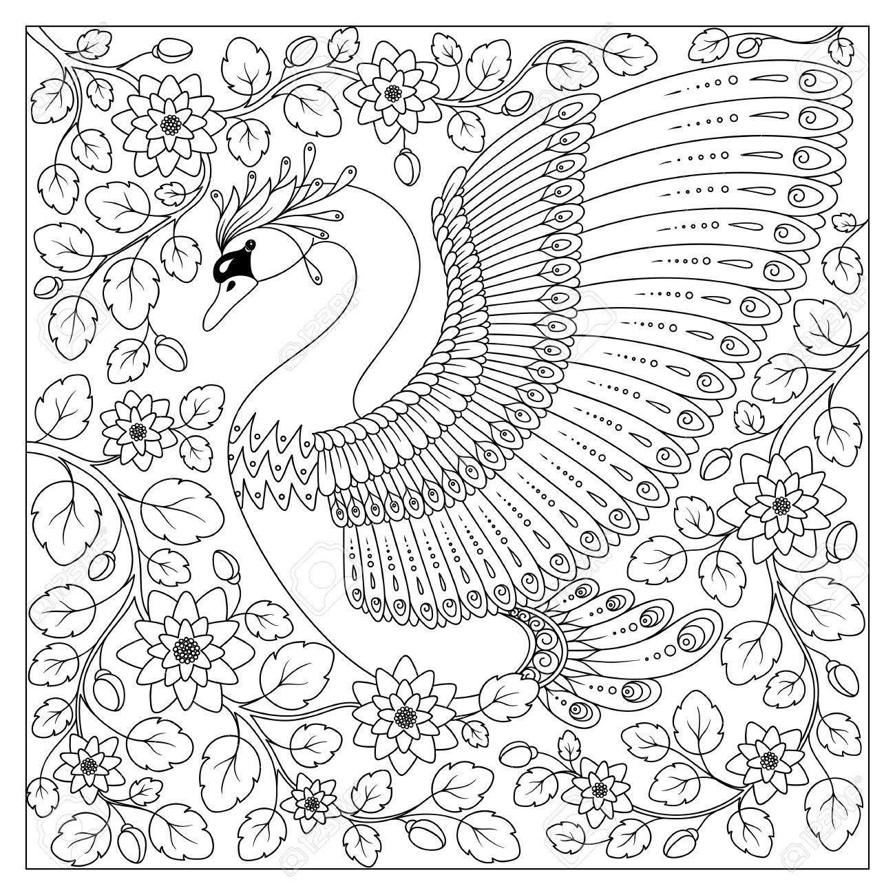 Handzeichnung Künstlerische Schwan In Blumen Für Erwachsene ...