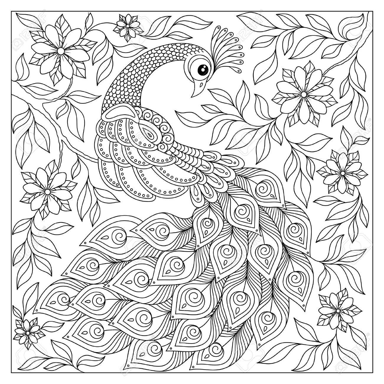 Vintage hand drawn pattern black and white doodle peacock. design. Sketch for adult antistress coloring page, tattoo, poster, print, t-shirt, invitation, cards, banners, flyers, calendars - 55847756