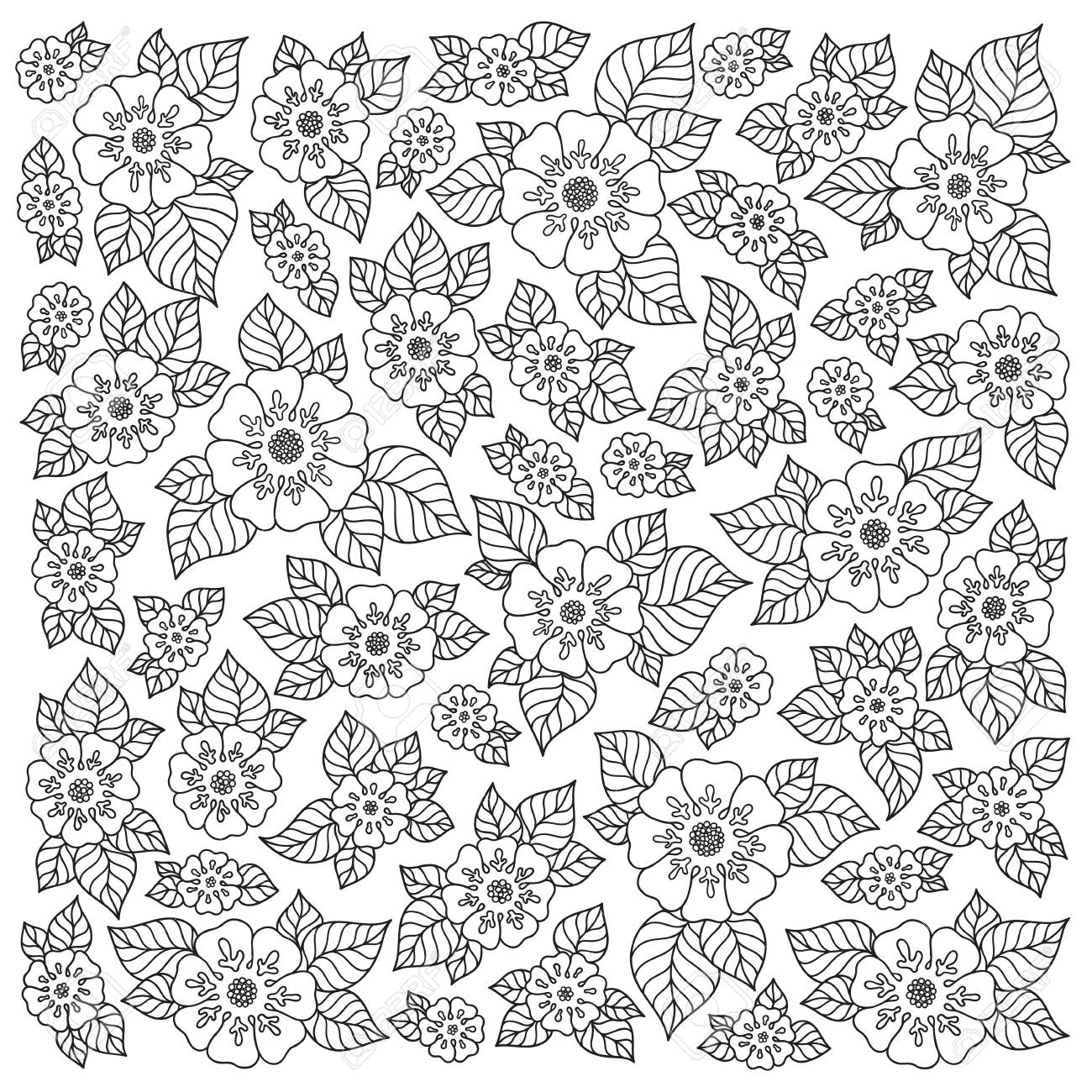 pattern for coloring book ethnic floral retro doodle vector tribal design element black and white ba