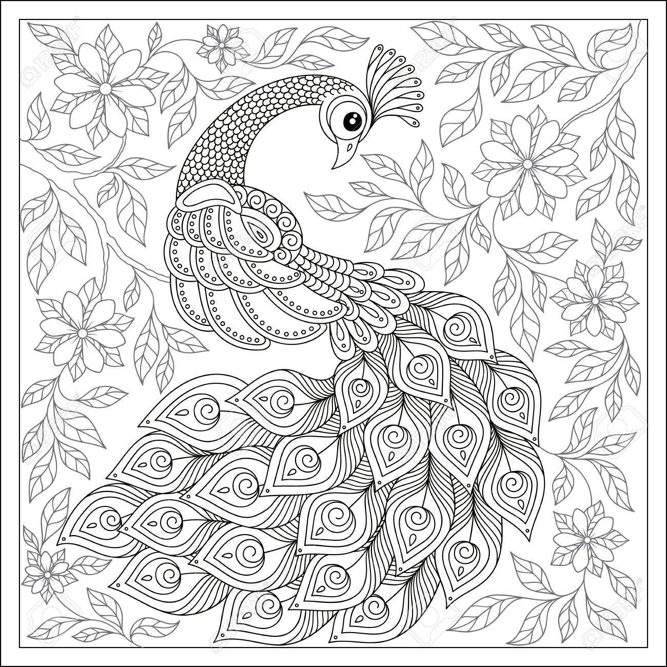Aves Exóticas, Flores Fantásticas, Ramas, Hojas. Por Vintage Patrón ...