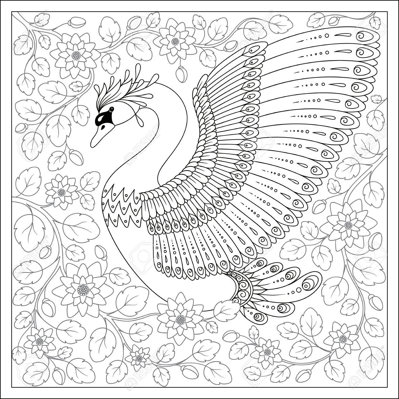 Aves Exóticas, Flores Fantásticas, Ramas, Leaves.Hand Dibujo Cisne ...