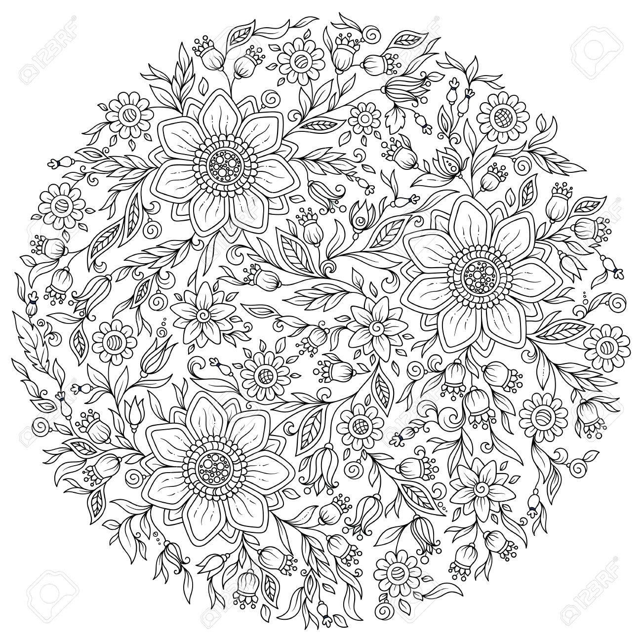Flores Del Bosque. Vector Páginas Para Dar Color. Dibujado A Mano ...