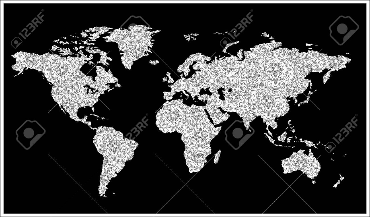 Zentangle style black and white doodle graphic illustration of vector zentangle style black and white doodle graphic illustration of map of world gumiabroncs Images