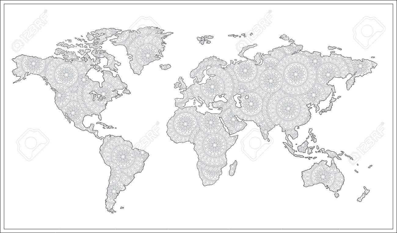 Motif Pour Le Livre A Colorier Illustration Graphique Graphique De Doodle Noir Et Blanc De La Carte Du Monde Clip Art Libres De Droits Vecteurs Et Illustration Image 76258258