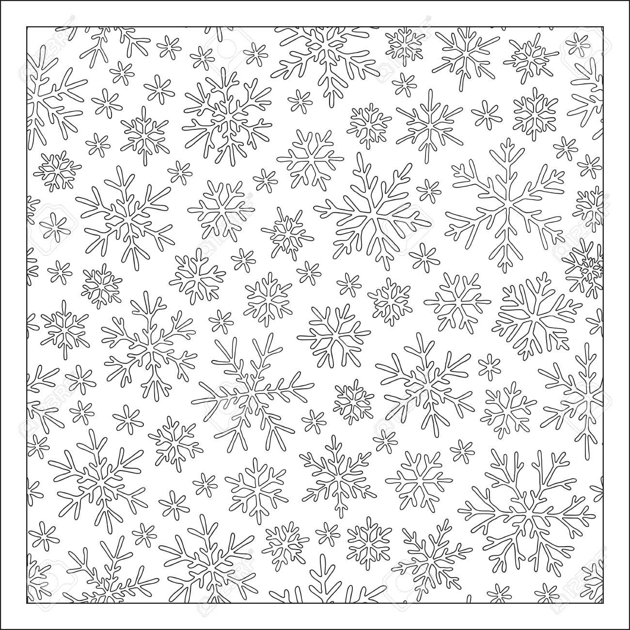 Patrón De Navidad De Los Copos De Nieve Para Una Tarjeta Y Un Libro Para Colorear Navidad Dibujado A Mano Elementos Decorativos Doodle En El Vector