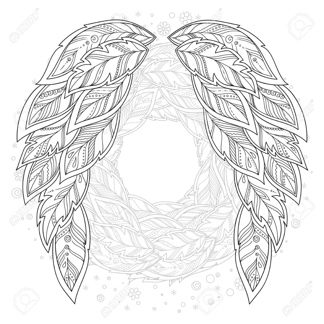 Flügel Feder. Muster für Malbuch. Ethnische gemusterte Vektorillustration.  Afrikaner, Inder, Totem, Tätowierung, Zentangle-Design. Skizze für