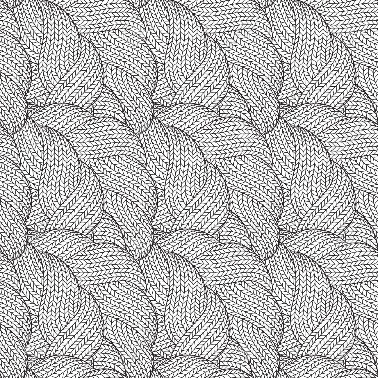 Resumen Mano Dibujada Monocromo Sin Fisuras Patrón Abstracto Con ...