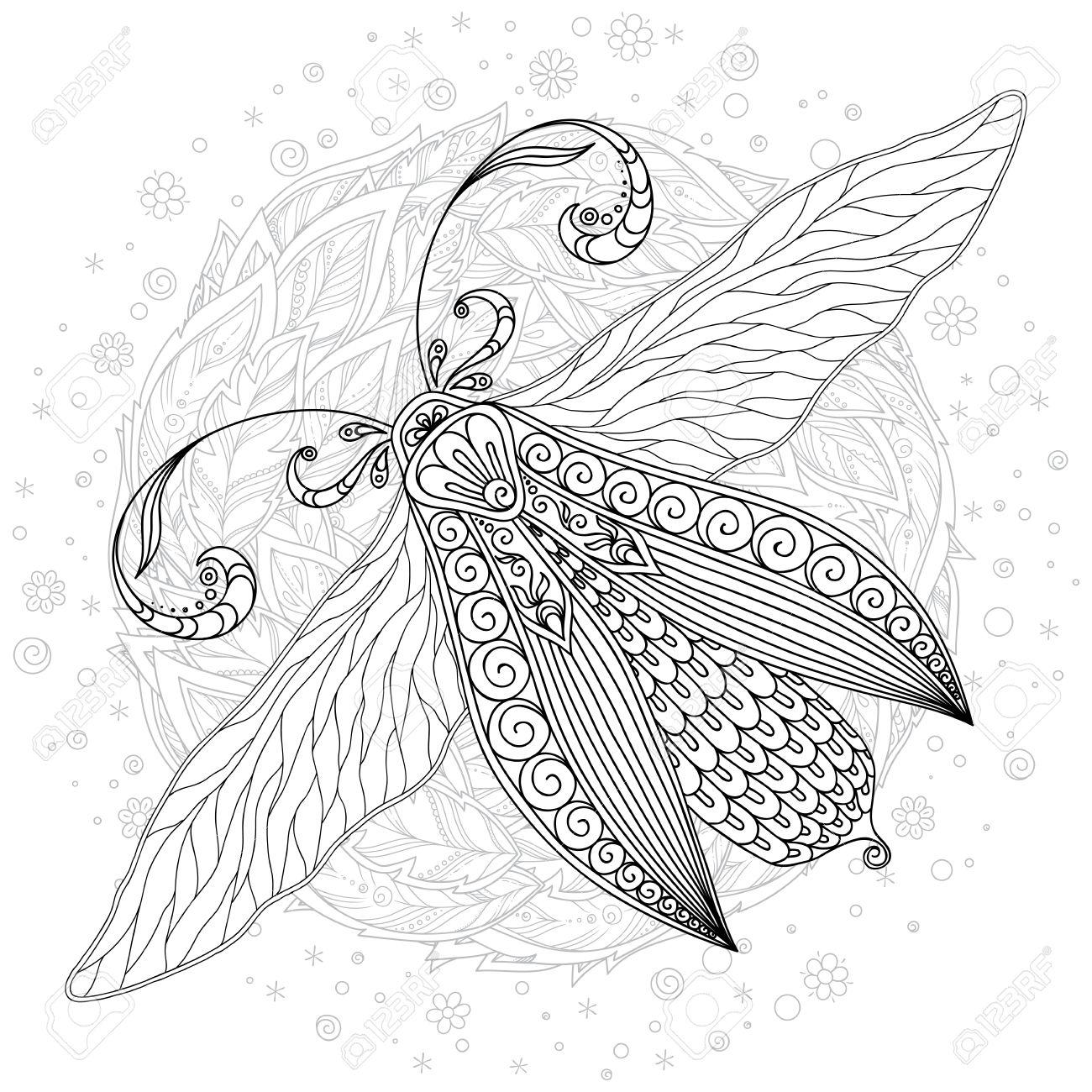 Gran Mariposa Exótica. Página De Libro Para Colorear Para Adultos Y ...