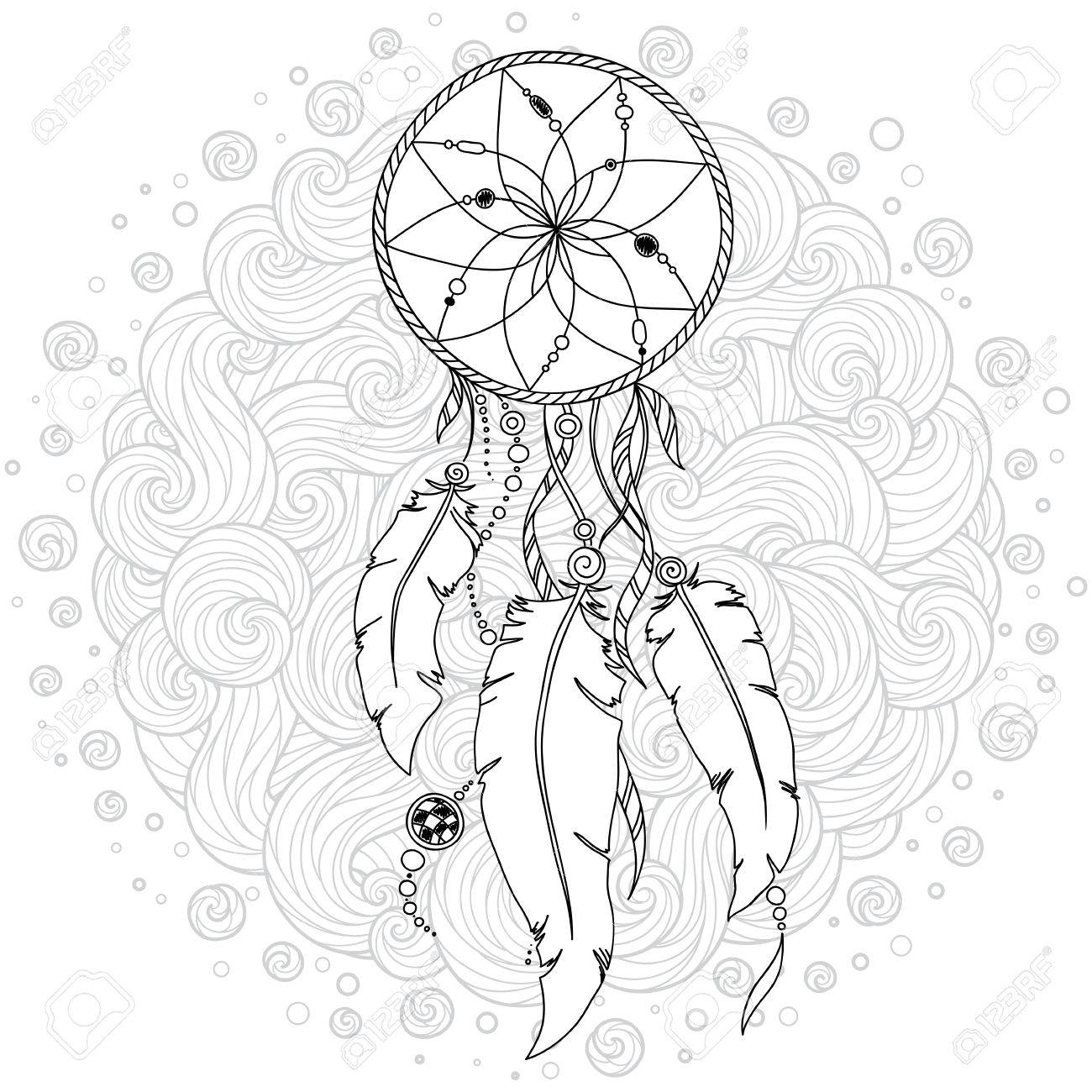 Monochrome Dream Catcher with feathers. Hand drawn vector illustration in doodle style. Sketch for tattoo, t-shirt design, post card. Boho style - 84433634