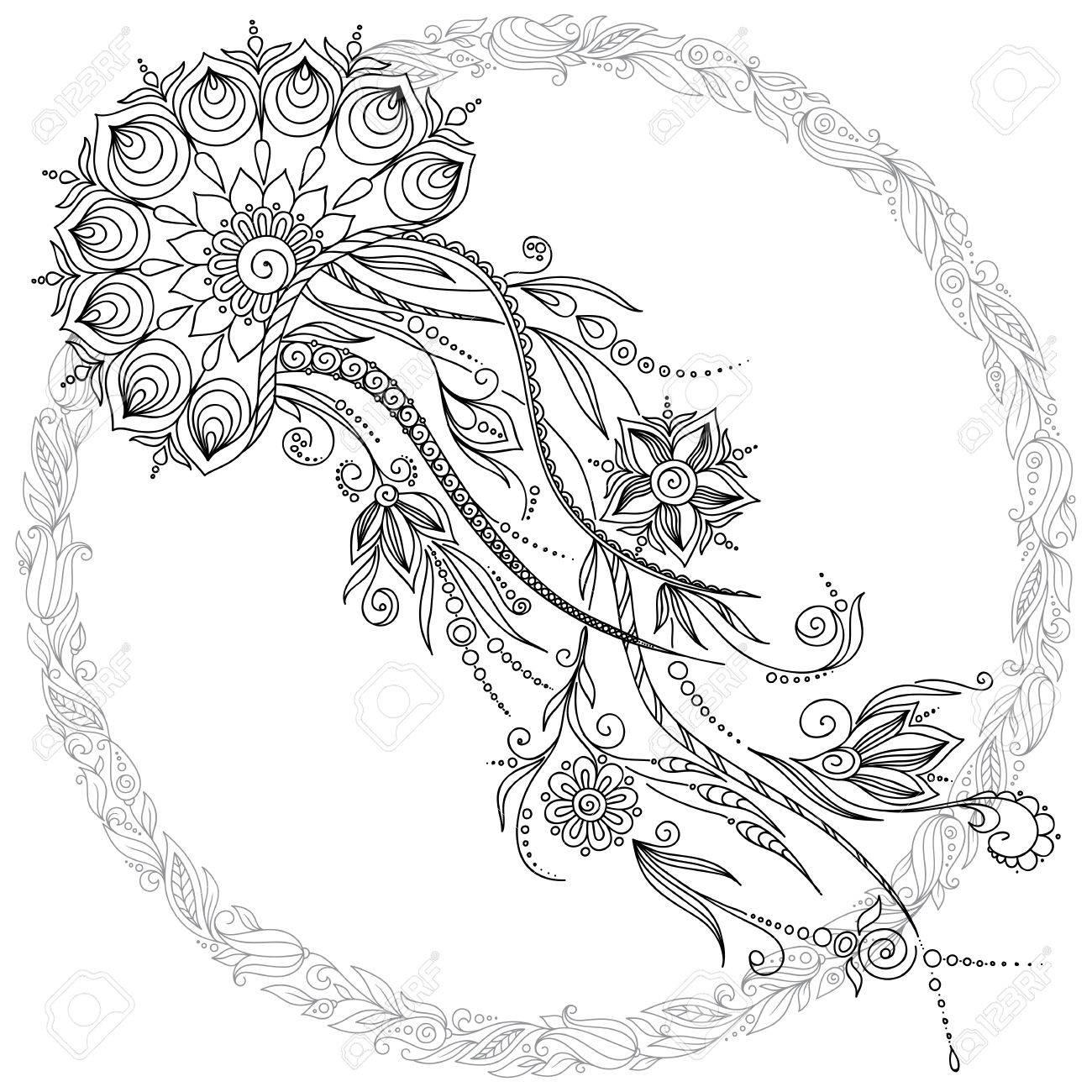 Dibujado A Mano Vector Medusas En Blanco Y Negro Estilo De Dibujo ...